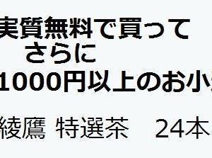 実質無料でさらに1000円以上のお小遣いになる:綾鷹 特選茶 24本  【楽天】