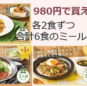 75%オフでたったの980円:ハンバーグ、ビビンバ、サバ煮  合計6食分のミールキット