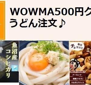 500円オフクーポン配布: Wowma うどんを半額で購入しました