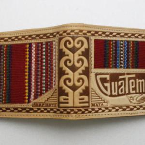 グアテマラ長財布 レザーウォレット 古布札入 中米グアテマラ民芸品