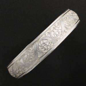 インドネシア シルバーバングル 銀製バングル インドネシア民芸品 アジアンアクセサリー