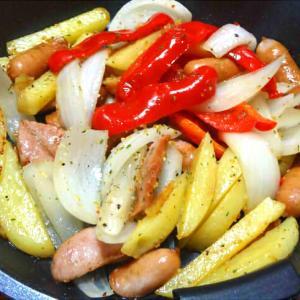 野菜を加えたジャーマンポテト