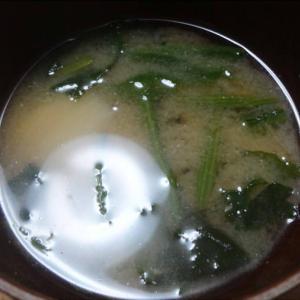 味噌汁に冷凍ほうれん草