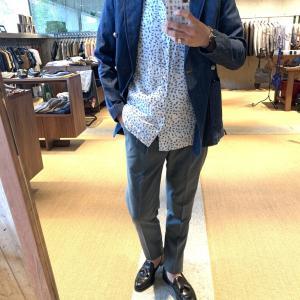 柄の半袖シャツ!!ニュアンスある素材感で差別化◎[SLOWGUN&BLUE BLUE]