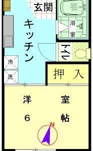毛呂駅8分1Kアパート2万円台(敷金、礼金無し、アネックスカナ)