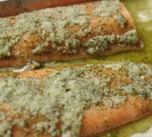 サーモンのマリネ香味野菜のサラダ仕立て