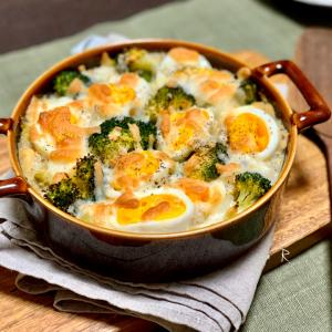 【レシピ】お豆とゆで卵のヘルシーグラタン