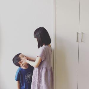 2人揃って日本脳炎予防接種。
