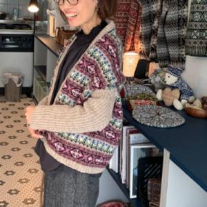 新作・フェアアイルのマーガレット、着るとこんな感じです。