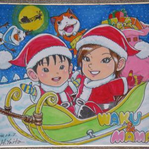 手描き似顔絵・クリスマスバージョン(色紙)