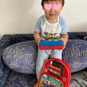 息子の消防士サムのリュックとお弁当箱☆
