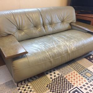 家具再生実例 富山県射水市I様 昔のカリモクのソファを現行のカリモクの張地で修理する