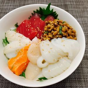 夜ごはん*海鮮丼&イクラの塩漬け