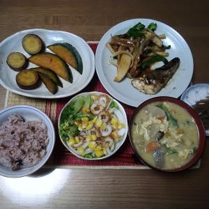 ランチはサバと野菜の甘辛焼き