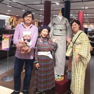 チェックコーデで阪急さんへ!つぐみちゃんハンドメイド着物で出店してます♪