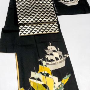 12/4〜6は東京 浜松町今昔きもの大市に出店します!モダンな帆船柄訪問着や付け下げ♬