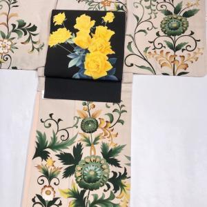 浜松町今昔きもの大市明日から!セミアンティーク付下げや薔薇柄小紋、お洒落な牡丹染め帯、藤の刺繍帯