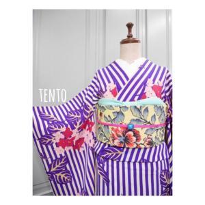 web shopにアンティーク単衣着物や絞り浴衣たくさんアップしてます♪ストライプに紫陽花♪