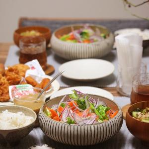【献立】山盛りサラダと具沢山お味噌汁と僕風「なんでもいい」「軽めの」ご飯。