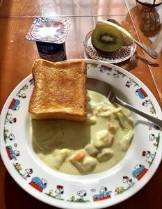ブロッコリーのポタージュスープの朝食