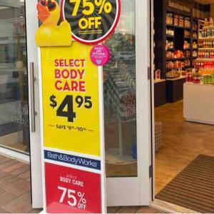 初めて来たらBig Saleで勝手にハイテンション! Bath&Body Works