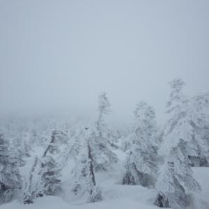 スキーバスに乗って雪山登山 吾妻山 グランデコスキー場より