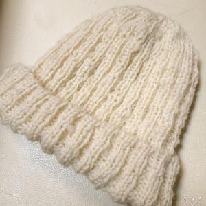 大きめサイズのふっくら優しいニット帽〜羊毛から作るニット帽〜