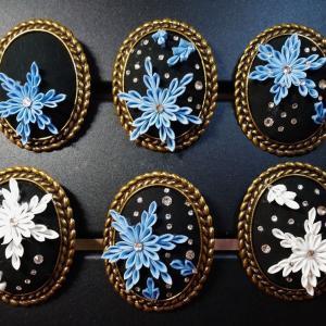 木曜クラス〜雪の結晶と細密バラ・藤かんざしの仕上げ