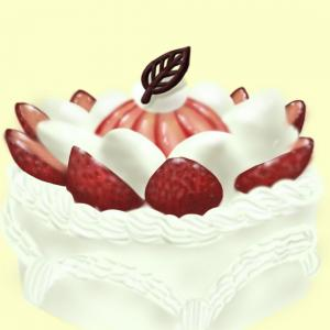 7月月生まれさんおめでとう!苺の生デコケーキイラスト