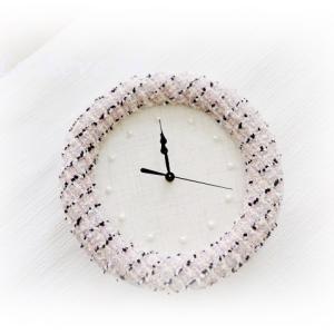 シャネルツイードで壁掛け時計&イヤリング♪