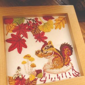 リスと紅葉の刺繍、完成しました♪作る時間って何でも楽しい~。