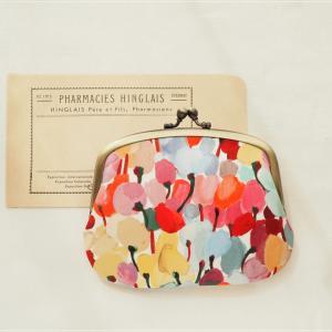 チューリップ柄のリバティプリントで親子がま口財布。