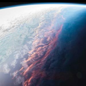 宇宙から見た夕焼け