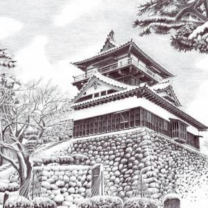 細密ボールペン画(丸岡城)