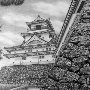 細密ボールペン画(高知城)