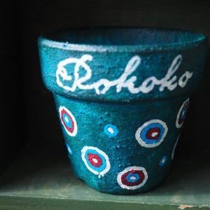 ドット柄のリメーク鉢