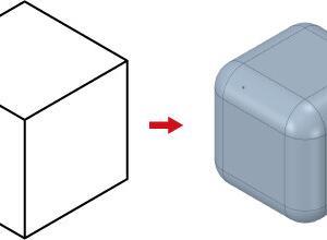 Illustratorで角がすべてRの立方体を描く