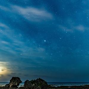 いつかの月の出と星空と天の川