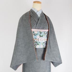 片貝木綿デニム着物「ヘリンボーンチャコール」がネットショップに入荷!