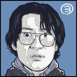 映画「メランコリック」から、皆川暢二さんの似顔絵です