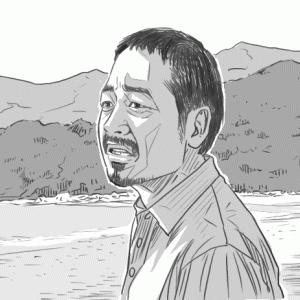 映画「捨てがたき人々」から、大森南朋さんの似顔絵です
