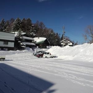 昨夜降った雪が積もっていました。