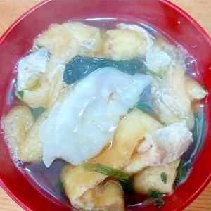 冷凍餃子法蓮草油揚げのスープ