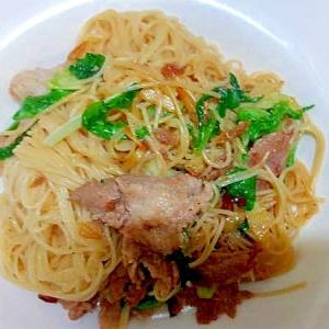 カッペリーニの和風/豚こまサラダ菜