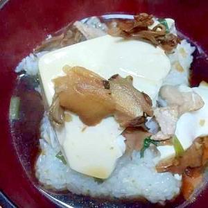 豆腐飯/豚小ねぎ干し舞茸刻み生姜醤油漬け