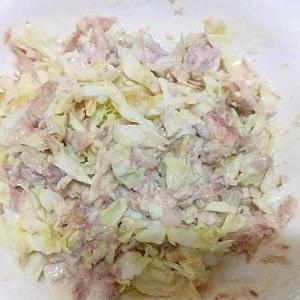 塩もみキャベツ鯖油漬け缶サラダ/にんにくマヨ