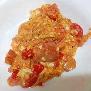 ミニトマトウインナ卵炒め