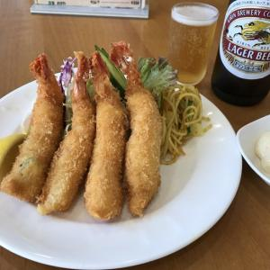 海老フライとビール♪@洋食おがわ(西八王子);部活後の最高の楽しみ