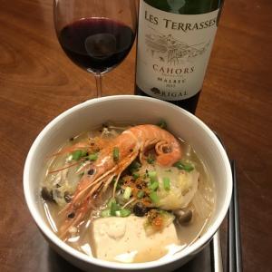 海老&野菜スープ。ワインはカオール♪