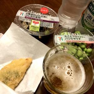 セブンで調達の夕飯☆グリラベ飲んでます♪